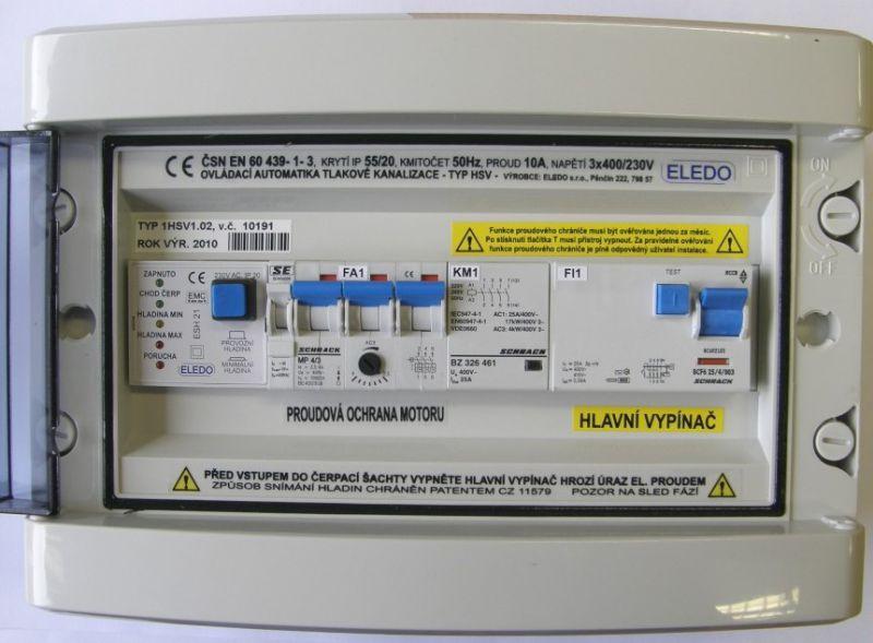 PERFEKT ovládací automatika 1HSV1.02 s proudovým chráničem pro čerpadlo tlakové kanalizace